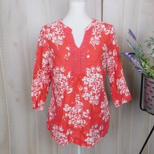 Boden Coral Floral 3/4 Sleeve Tunic Linen Blouse